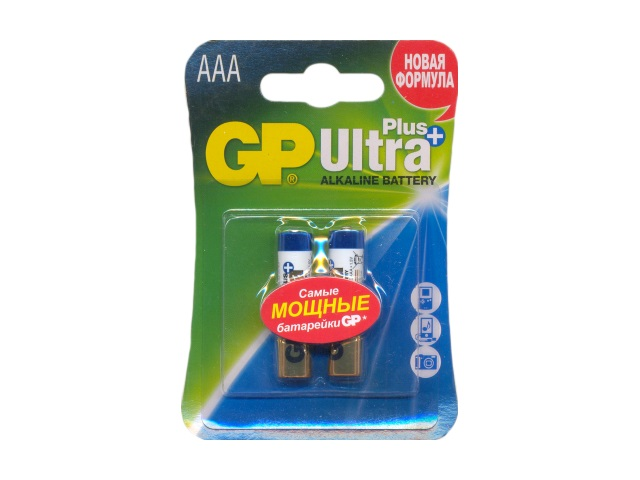 Батарейка, в наборе 2 шт. LR03 1.5V щелочная Ultra Plus, GP