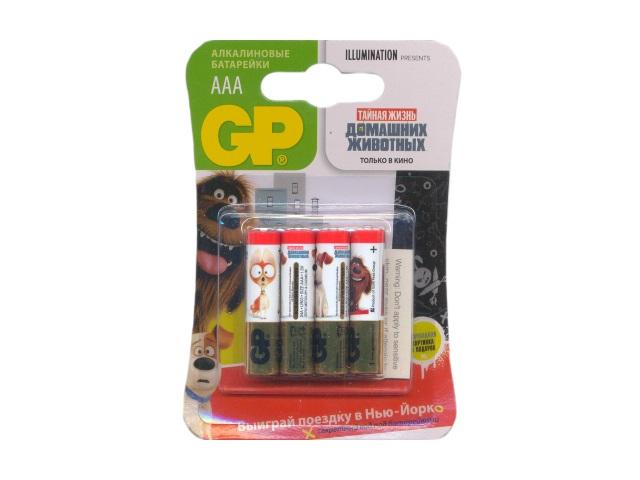 Батарейка, в наборе 4 шт. LR03 1.5V щелочная Pets, GP