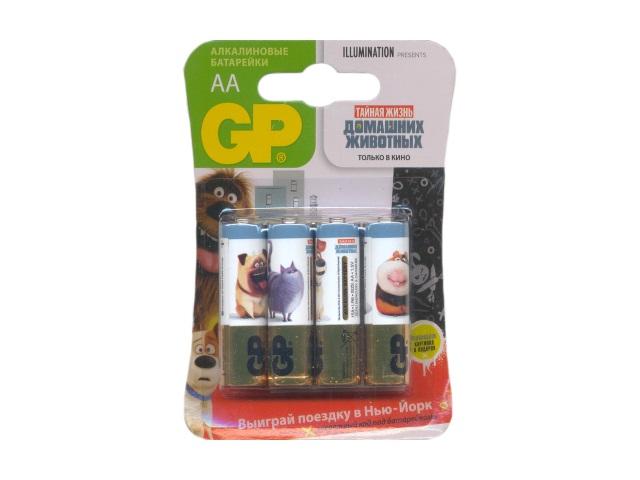 Батарейка, в наборе 4 шт. LR6 1.5V щелочная Pets, GP