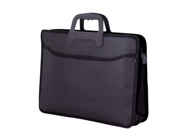 Портфель А4, 2 отделения, пластиковый, на молнии, черный, SAT 1806