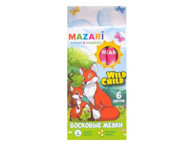 Карандаши восковые 6 цветов Wild Child, круглые, Mazari М-6381-6