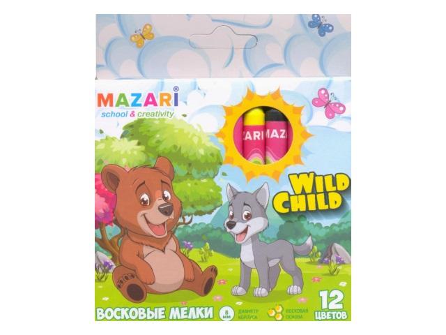 Карандаши восковые 12 цветов Wild Child, круглые, Mazari М-6381-12