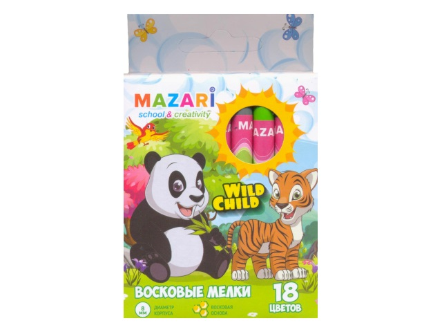 Карандаши восковые 18 цветов Wild Child, круглые, Mazari М-6381-18