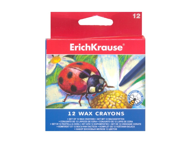 Карандаши восковые 12 цветов, круглые, Erich Krause EK-34930