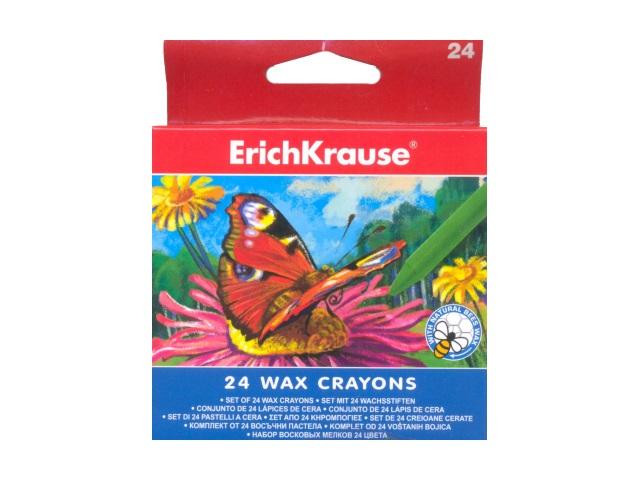 Карандаши восковые 24 цвета, круглые, Erich Krause EK-34931