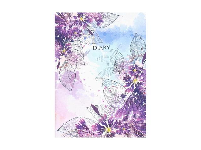 Ежедневник недатированный В6 кожзам 160 листов Цветы на белом, белый блок фиолетовый срез, DeVente 2035753