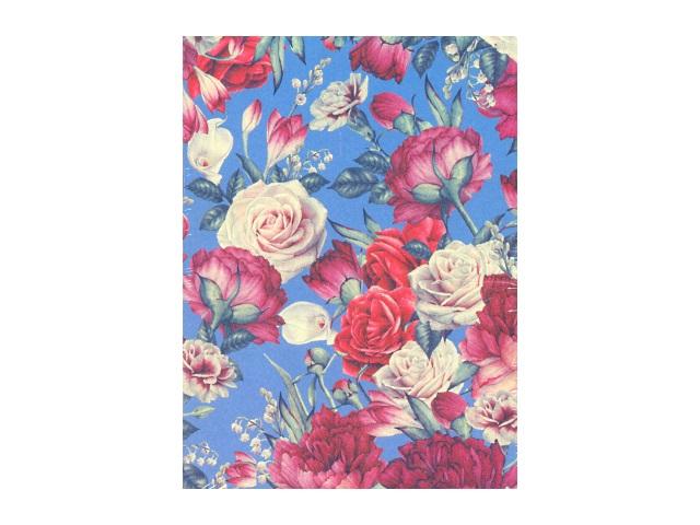 Ежедневник недатированный В6 кожзам 160 листов Цветы на голубом, кремовый блок бордовый срез, DeVente 2035711