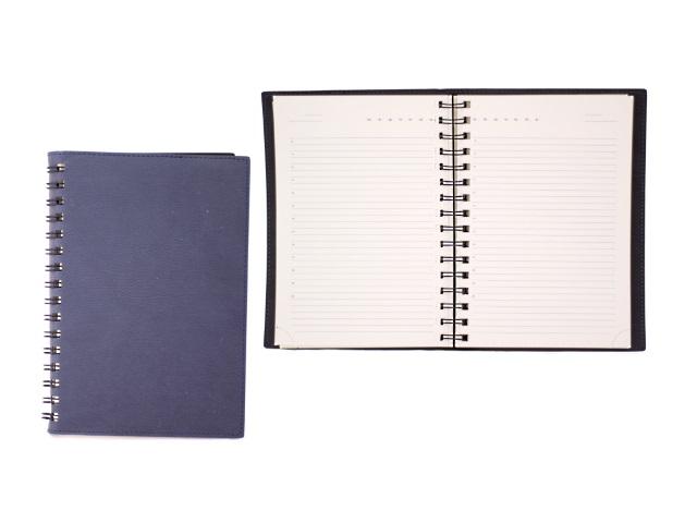 Ежедневник недатированный А5 кожзам мягкий 160 листов темно-синий на спирали в подарочной упаковке, кремовый блок, DeVente 2034704