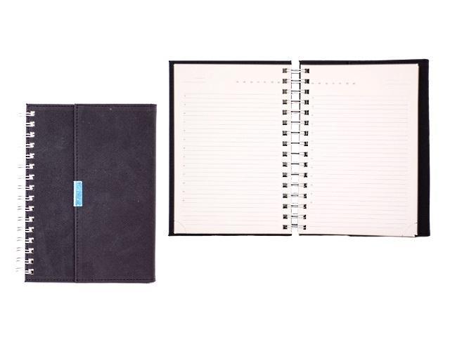 Ежедневник недатированный А5 кожзам 160 листов на спирали с магнитом, черный, кремовый блок, в подарочной упаковке, DeVente 2034758