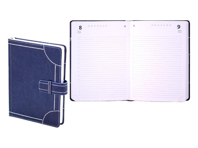 Ежедневник полудатированный А5 кожзам 192 листа Ducale синий на застежке в подарочной упаковке, DeVente 2144604
