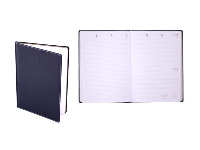Еженедельник датированный 2018 г. А4 кожзам 64 листа темно-синий в подарочной упаковке, белый блок золотой срез, DeVente 2036706