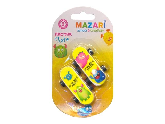 Набор ластиков Skate, 2шт. в упаковке на блистере, Mazari М-6766