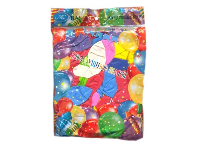 Шары, размер № 12, в упаковке 100 шт., цветные, неоновые, Basir МС-3550