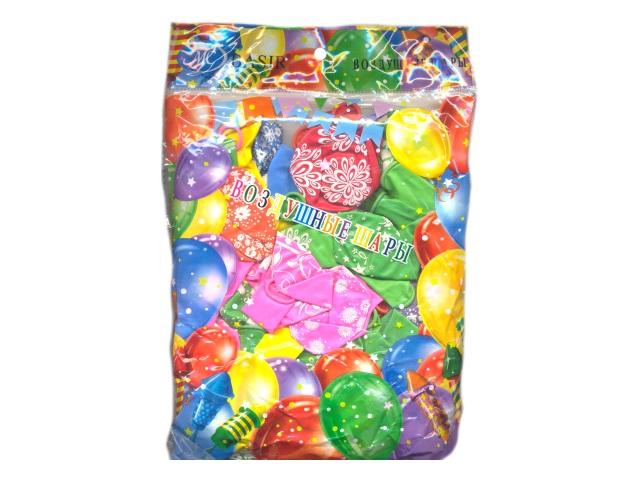 Шары, размер № 12, в упаковке 50 шт. цветные с рисунком, Basir МС-3570