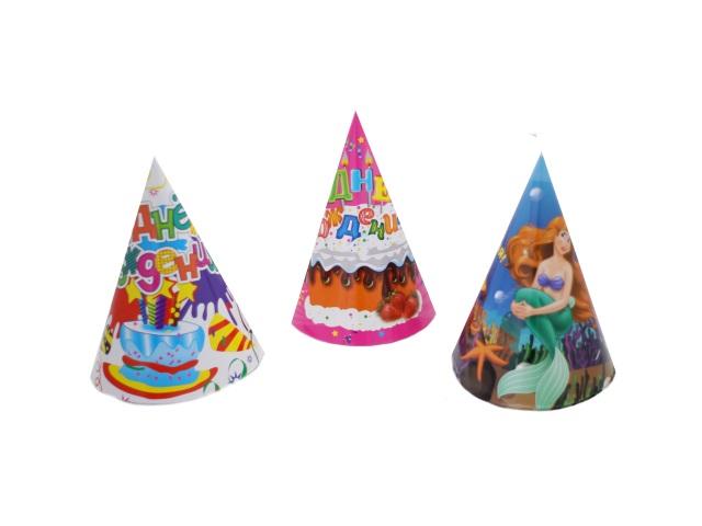 Колпак картонный 24 см С Днем рождения, в наборе 10 шт., Basir МС-3610