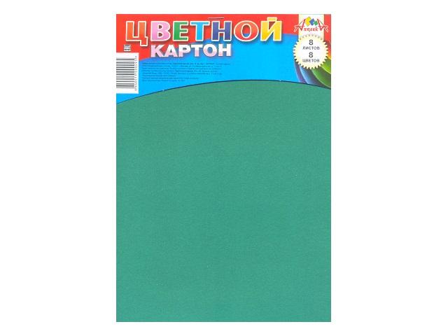 Картон цветной А4 8 листов 8 цветов односторонний на скобе,  Апплика С2770-01