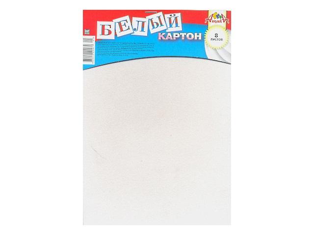 Картон белый А4 8 листов односторонний на скобе, Апплика С2768-01