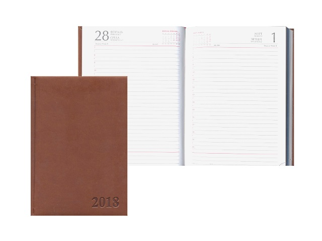 Ежедневник датированный 2018 г. А5 кожзам 168 листов Глосс темно-коричневый, Prof Press 168-0738