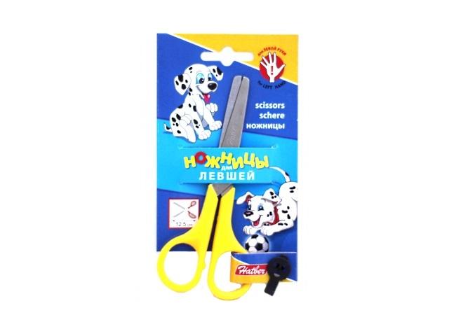 Ножницы для левши 12.5 см детские с пластиковыми ручками, блистер, Hatber 12001