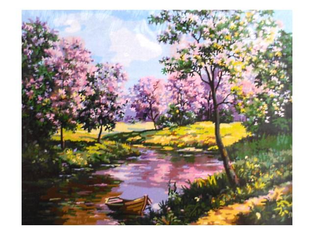 Картина по номерам, холст на подрамнике 40*50 см, в наборе кисти и акриловые краски, Весенний пейзаж, Schreiber S 764