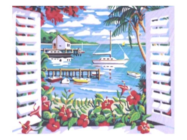 Картина по номерам, холст на подрамнике 40*50 см, в наборе кисти и акриловые краски, Вид из окна, Schreiber 13118