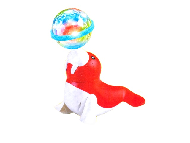 Музыкальная игрушка Тюлень с шаром пластиковый на батарейках в коробке, арт. 128А