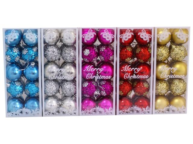 Елочная игрушка Шарики D= 5 см с блеском Merry Christmas, 20 шт. в коробке