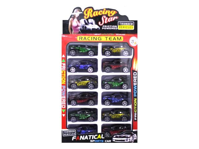Машина пластиковая Гонка Racing StarЮ 12шт. в наборе в коробке