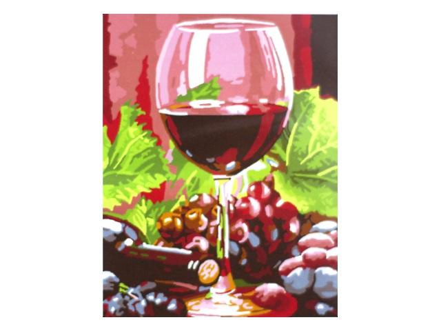 Картина по номерам, холст на подрамнике 30*40 см, в наборе кисти и акриловые краски, Бокал вина, Schreiber S-566