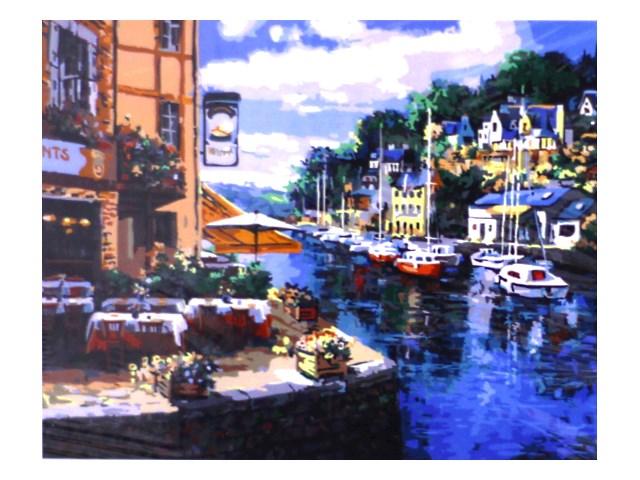 Картина по номерам, холст на подрамнике 40*50 см, в наборе кисти и акриловые краски, Набережная с лодками, Schreiber 13475