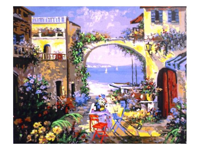 Картина по номерам, холст на подрамнике 40*50 см, в наборе кисти и акриловые краски, Тихий дворик, Schreiber 13475