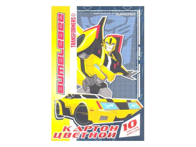Картон цветной А4 10 листов 10 цветов односторонний, Transformers, Академия Групп ЕАС-TR110-2