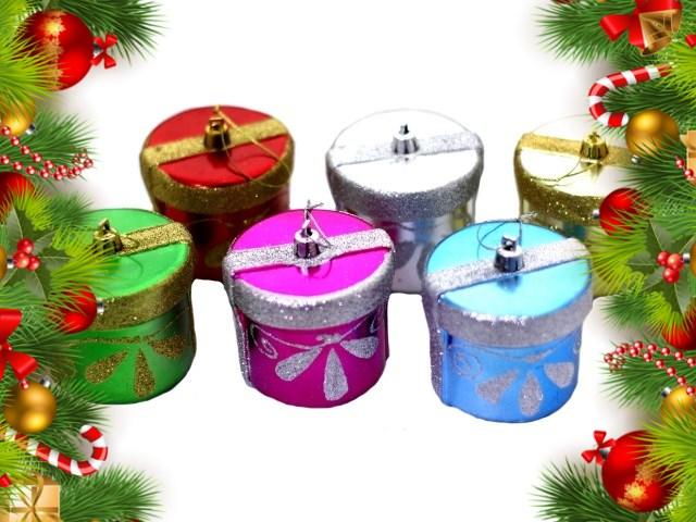 Набор елочных игрушек Коробочка, 6 шт. в наборе, в ассортименте, в пластиковой коробке