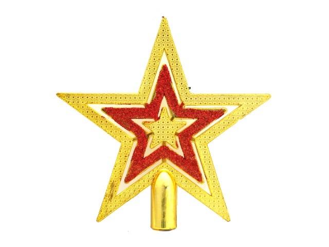 Елочная игрушка Верхушка Звезда 15*15 см, цвета в ассортименте, в пакете