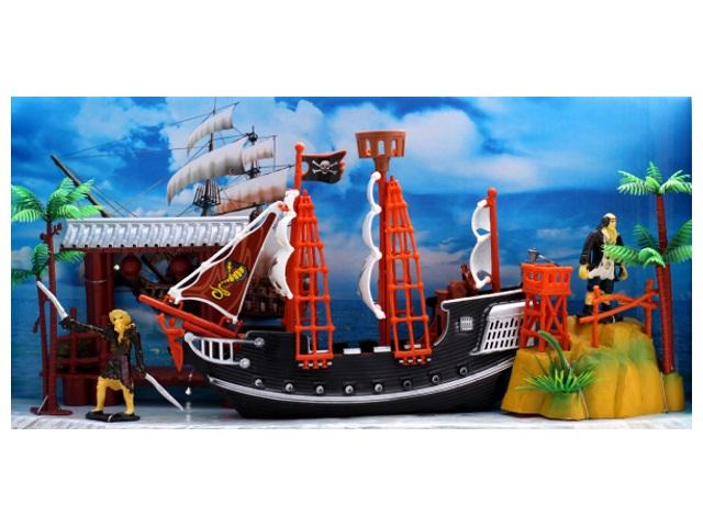 Корабль Пираты-3 с аксессуарами пластик в коробке, Рыжий кот И-7958