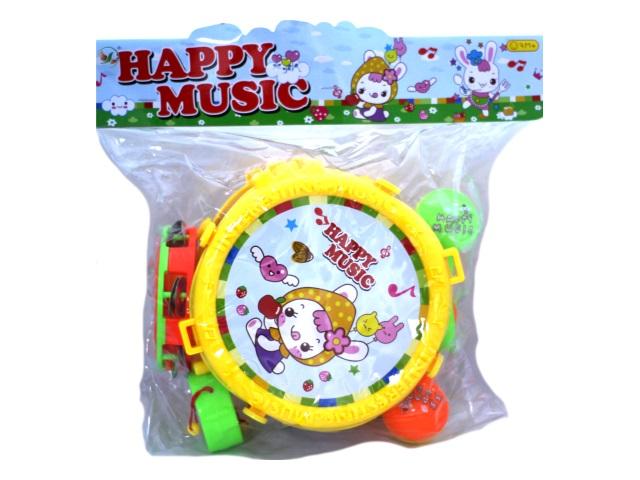 Музыкальные инструменты набор 5 предметов пластик Happy Music в пакете, Qinzhengyuan XY62