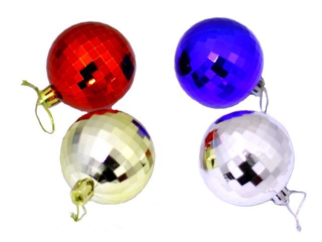 Елочная игрушка Шарики диско цветные D=6 см, набор 12 шт. в тубе