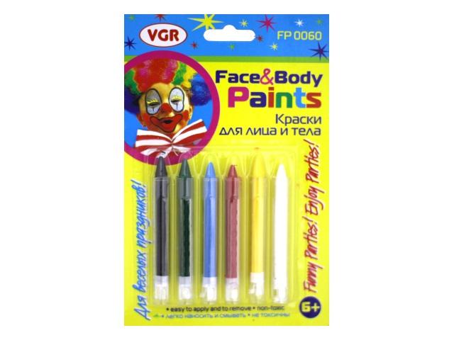 Карандаши для грима 6 цветов, на блистере, VGR 0060