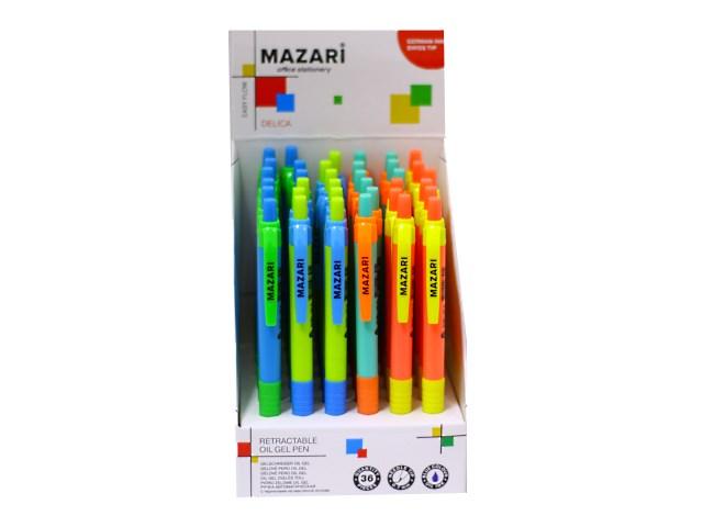 Ручка шариковая автоматическая, синяя 0.7 мм, Delica Easy Flow, Mazari М-5765-D36