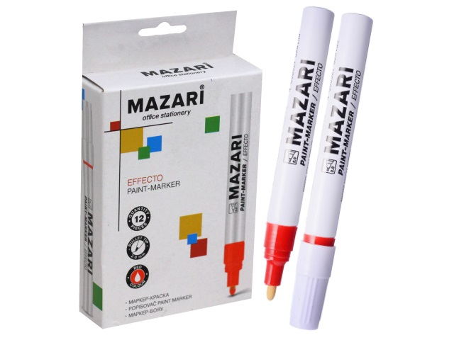 Маркер краска 2 мм красный, Mazari М-5008