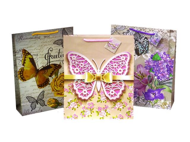 Пакет подарочный бумажный Бабочки 36*26*10 см, Mazari М-8028