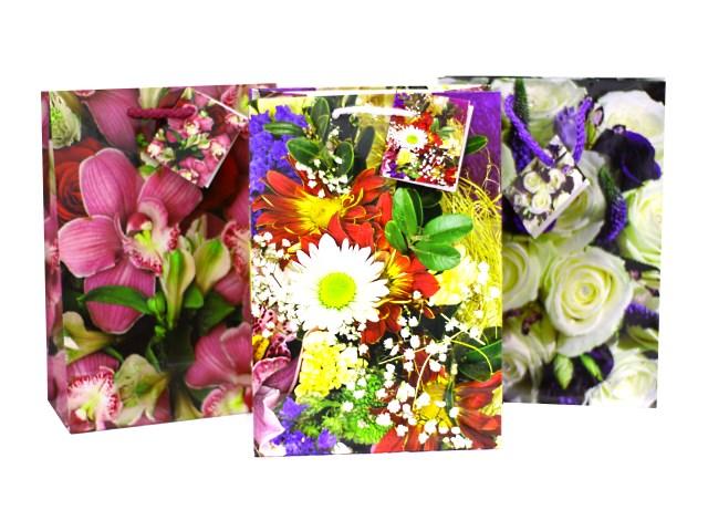 Пакет подарочный бумажный Цветы 20*14*7 см,  Mazari М-8035