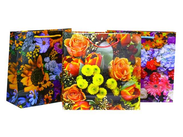 Пакет подарочный бумажный Цветы 25*25*10 см, Mazari М-8036DM