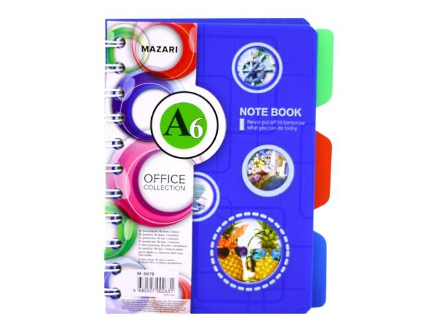 Блокнот спираль сбоку А6, пластиковая обложка 100 листов, 3 разделителя, Office, Mazari М-3619