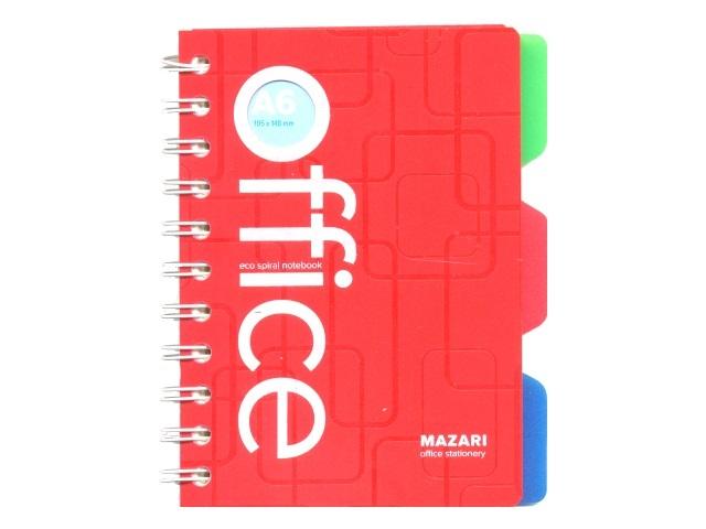 Блокнот спираль сбоку А6, пластиковая обложка 100 листов, 3 разделителя, Office, Mazari М-3621
