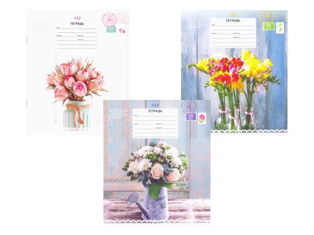 Тетрадь в клетку 18 листов Цветы, Art Space 14340