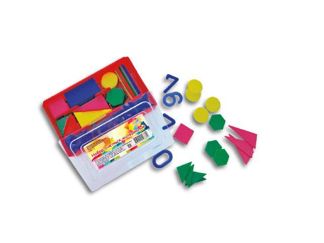 Счетные материалы, Геометрические фигуры и цифры, в пластиковой коробке, Пчелка