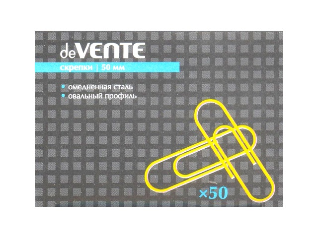 Скрепки 50 мм золотистые 50 шт. в коробке, DeVente 4135317