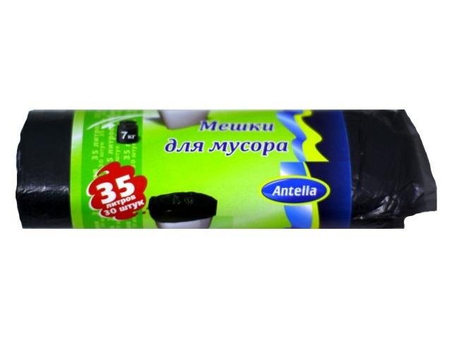 Пакеты для мусора 35 л 30 шт. 6 мкм черные, Antella 70028