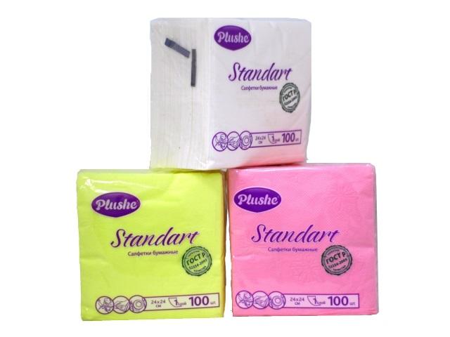 Салфетки бумажные однослойные 24*24 см, 100 шт. в упаковке, цвета в ассортименте Standart, Plushe
